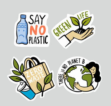 Ecologic labels. Eco safe emblems, green safe plant. Sticker zero waste