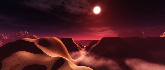 Fabulous landscape, alien sunset, martian landscape, 3d rendering