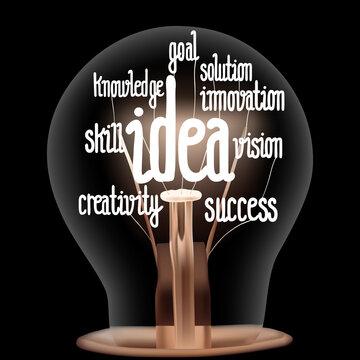 Light Bulb with Idea Concept