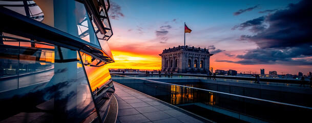 Fototapeta Panoramic view of Reichstag building at sunset