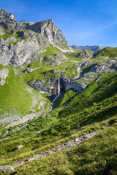 Waterfall in Vanoise national Park valley, French alps