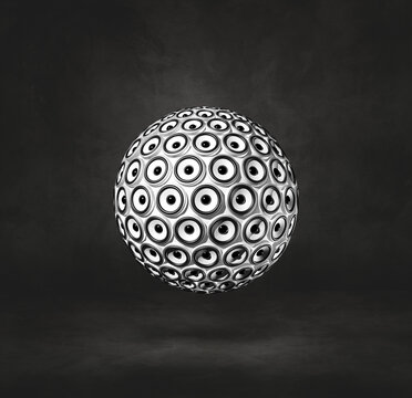 Speakers sphere on a black studio background