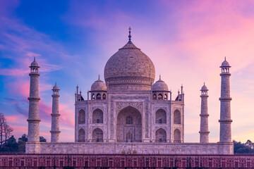 Taj Mahal ivory white marble mausoleum in the Indian city of Agra, Uttar Pradesh, India, Taj Mahal beautiful landmark, Symbol of loveI, India.