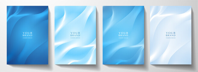 Obraz Modern cover design set. Blue abstract line pattern (guilloche curves). Creative stripe vector collection layout for business background, certificate, brochure template - fototapety do salonu