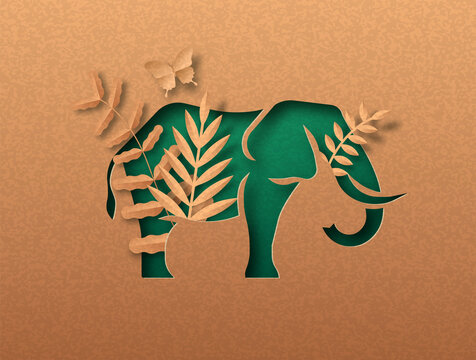 Green paper cut elephant animal with nature leaf