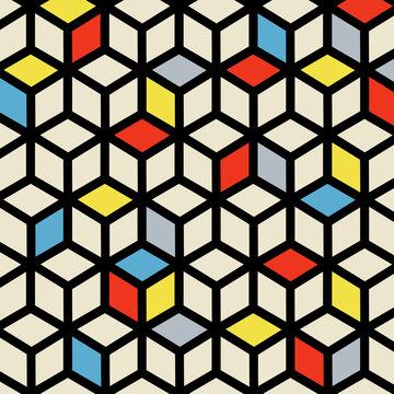 Isometric Cube De Stijl Polygon Art Composition