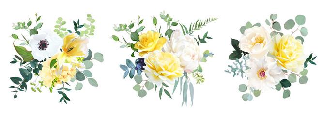 Yellow rose, hydrangea, white peony, tulip, anemone, spring garden flowers - fototapety na wymiar