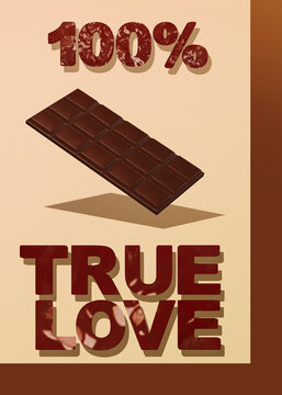3d render poster scene..Chocolate bar and text 100 procent true love. Choco Cacao lover concept. Minimalistic creative food style art.