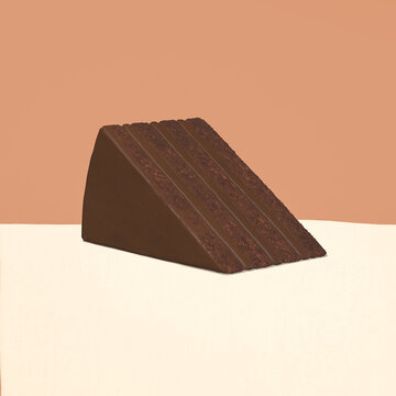 3d render Chocolate cake piece in beige brown cream space. Choco cacao  lover concept. Minimalistic creative food style art.
