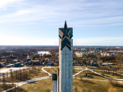 World War II Victory Monument to Soviet Army in Riga. Victory park in Riga, Latvia. Victory monument. View from above. Panorama of the city.
