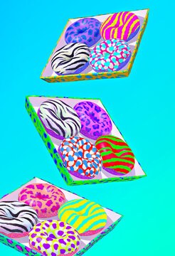 Minimal food 3d render scene creative animal pattern donuts in gravity blue space. Restaurant, bakery, candy shop, food delivery concept art.
