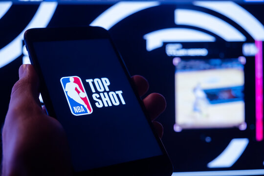 NBA top shot logo on smartphone. NFT non fungible token. New way to buy digital assets, collectibles and cryptoart. Moscow 5 March 2021