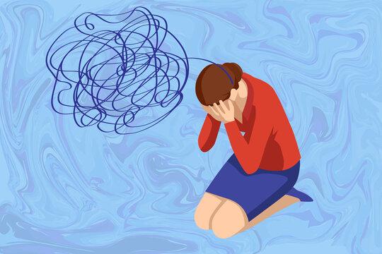 Isometric Depressed women. Psychology, health, care, depression, frustration, medicine concept. Psyhology mental problems, depression panic attacks, paranoia anger control