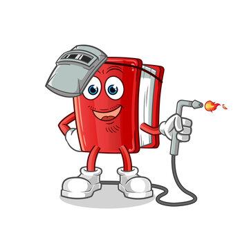 book welder mascot. cartoon vector