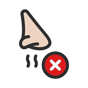 Loss of smell, anosmia coronavirus symptom vector icon