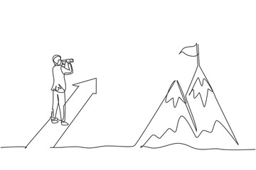 Single one line drawing of young smart business man looking top mountain from up arrow sign. Business financial growth minimal concept. Modern continuous line draw design graphic vector illustration