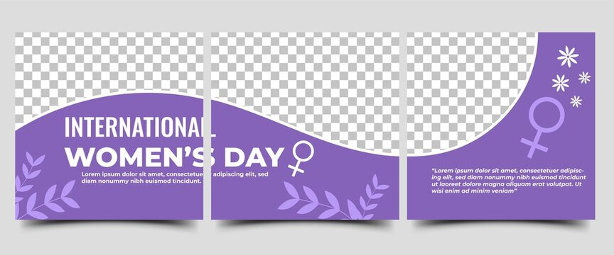International women's day social media post template design. Purple color background with leaf and flower ornament.