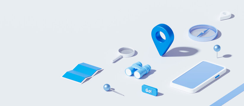 Isometric of map and location pin or navigation icon sign on white background with search concept. 3D rendering.