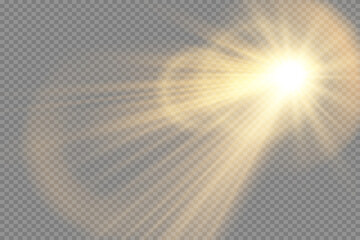 Obraz Vector transparent sunlight special lens flash light effect.front sun lens flash. Vector blur in the light of radiance. Element of decor. Horizontal stellar rays and searchlight. - fototapety do salonu
