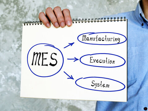 Conceptual photo about MES Manufacturing Execution System . man holding a piece of paper