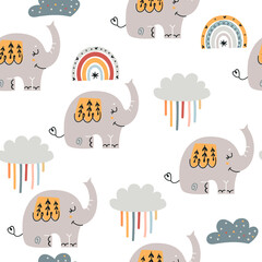 Baby seamless pattern with cute elephants