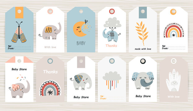 Set of tags with bohemian elephants.