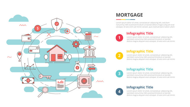 mortgage concept for infographic template banner with four point list information