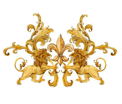 gold lions, vintage golden curl. luxury illustration.  luxury jewelry design. riches background.
