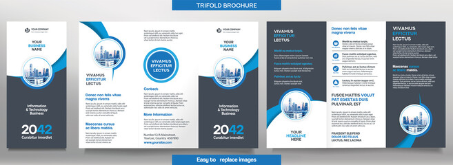 Business Brochure Template in Tri Fold Layout. Corporate Design Leaflet with replacable image. - fototapety na wymiar