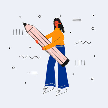 ethnic business woman with glasses holding a large pencil. Study and write concept. Filling out the diary by the student. An employee maintains accounting records. Trendy flat character textured