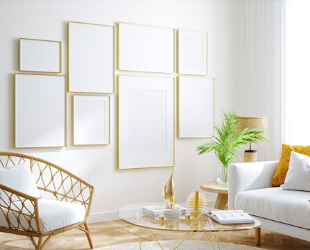 Mockup frame, wall in interior background, Coastal style, 3d render