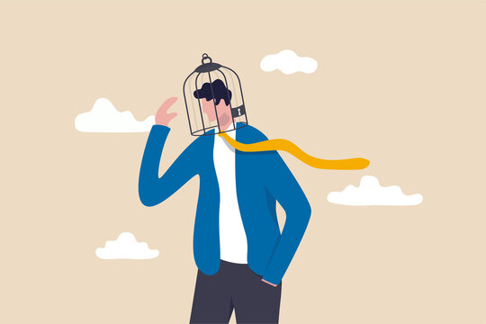 Limited understanding, creativity blocker, fear of challenge, bias or ego trapped, powerless or lack of intelligence concept, depressed businessman with birdcage lock his head.