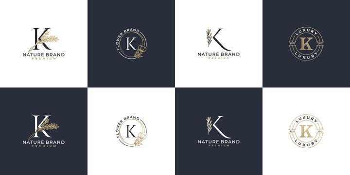 set of luxury feminine initial letter k logo template