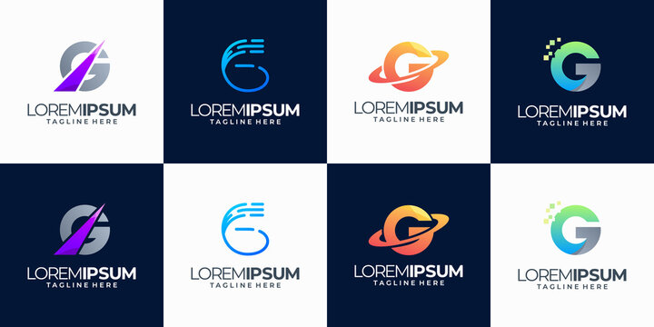 Set of abstract initial letter g logo template. icons for business technology, modern, simple