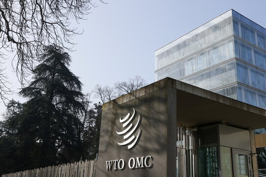 A logo is pictured on the WTO in Geneva