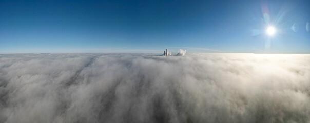 Obraz elektrownia Rybnik, kominy nad mgłą z lotu ptaka - fototapety do salonu