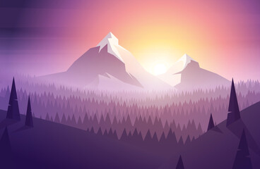 Simple morning mountain landscape in modern colorful low poly style