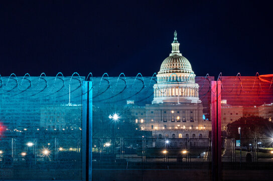 Security fence surrounding the U.S. Capitol after 6-January-2021