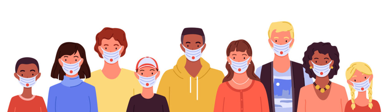 Different people in medical masks, portraits set, man woman wear mask to protect health