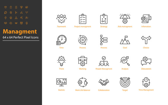 set of business managment thin line icons 64x64 px