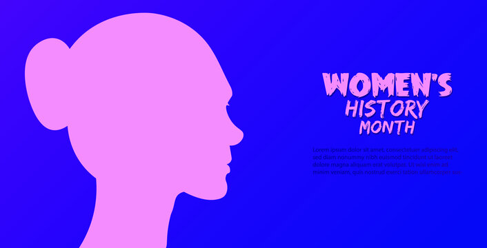 March is Women history month, vector illustration poster.