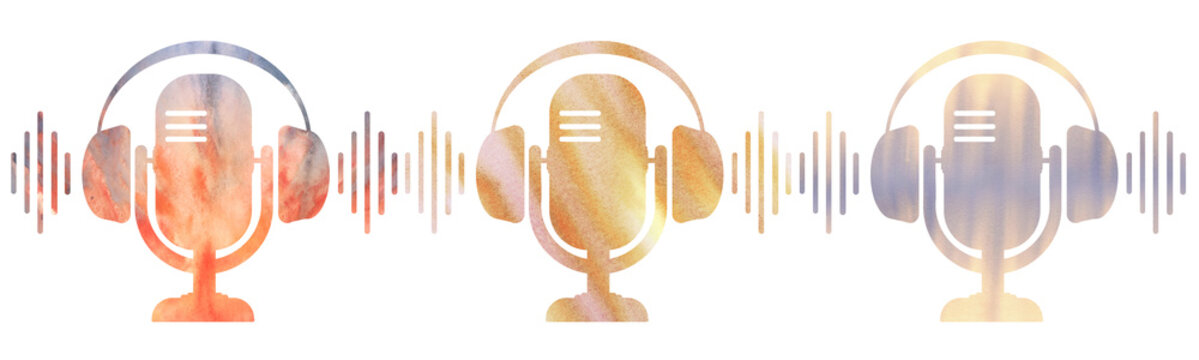 series of icons of a radio microphone with headphones. White background. colorful texture. Podcasting or  broadcasting banner.
