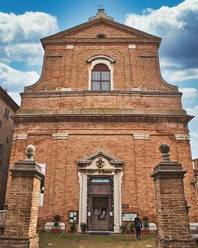 external view from santa maria goretti church in Corinaldo village<