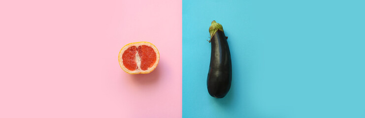 Fototapeta Banner of symbols for male and female gender (sex) shown as half a grapefruit and an eggplant