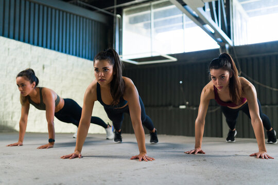 Athletic young woman doing a cardio workout