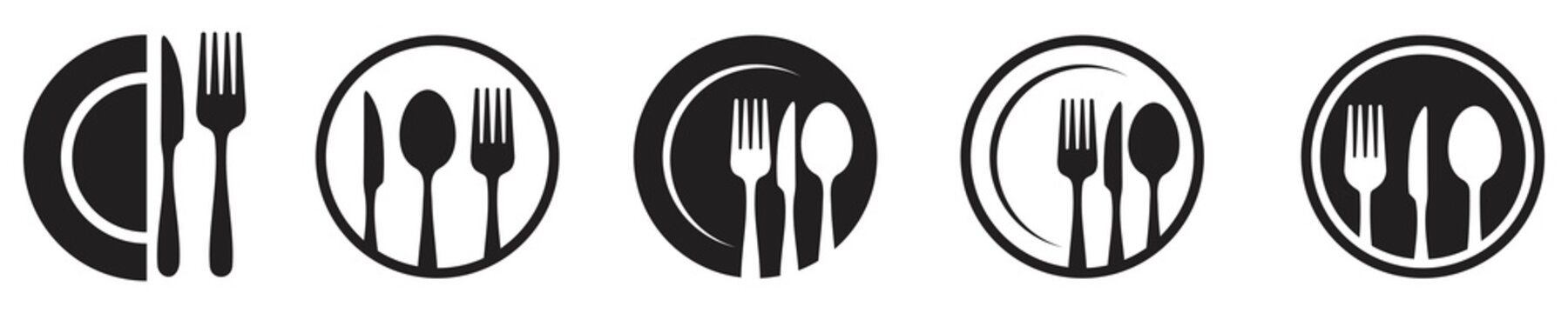 spoon, Fork, knife and plate icon set, menu logo, Silhouette of cutlery. Tableware Vector illustration