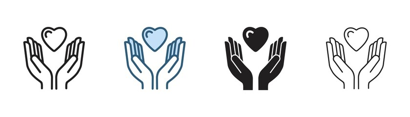 Obraz hands holding heart icon, hand with love Vector illustration - fototapety do salonu