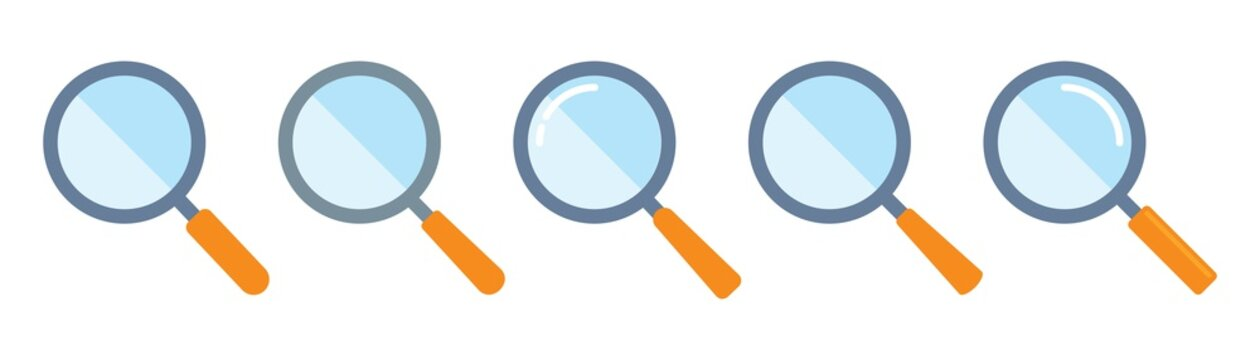 Magnifying glass icon in cartoon style. magnifier or loupe sign isolated on white background, Search symbol. Vector illustration