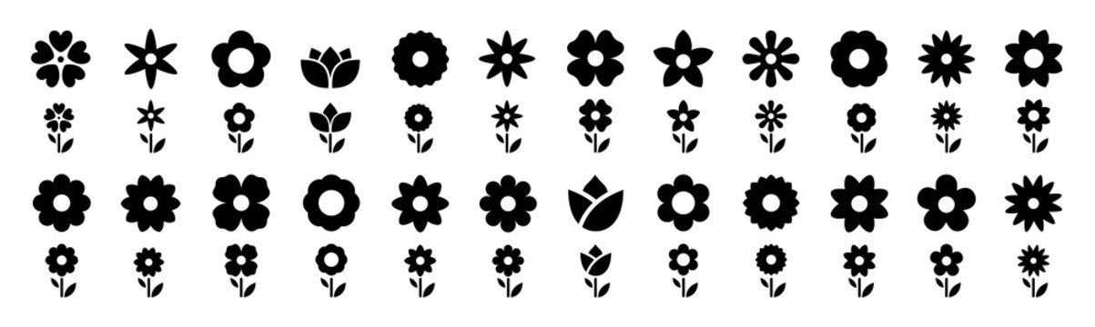Flowers icon set. Flowers isolated on transparent background. Flowers in modern simple. Cute round flower plant nature collection. Vector illustrator.