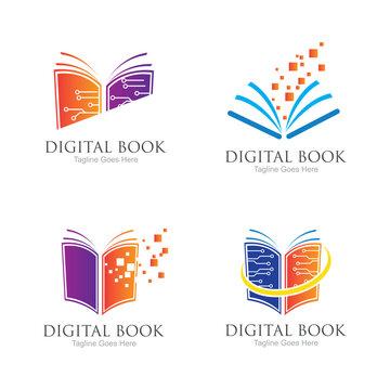Digital book logo technology vector icon design